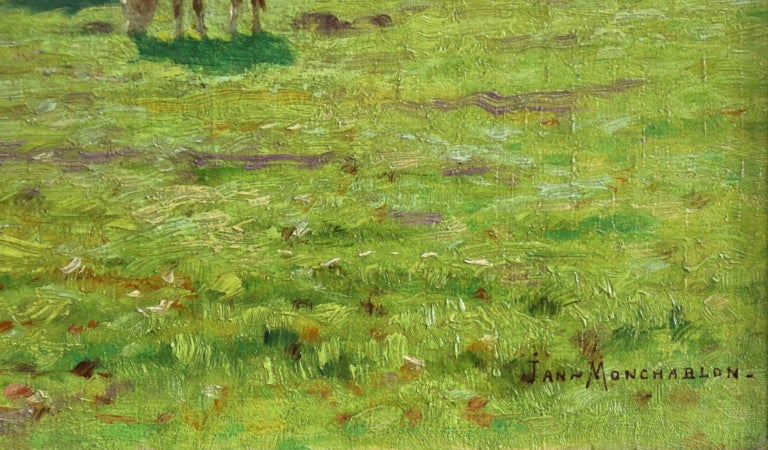 A Summer's Day - Impressionist Oil, Cattle by River in Landscape by J Monchablon 3