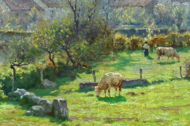 A Summer's Day - Impressionist Oil, Cattle by River in Landscape by J Monchablon 4