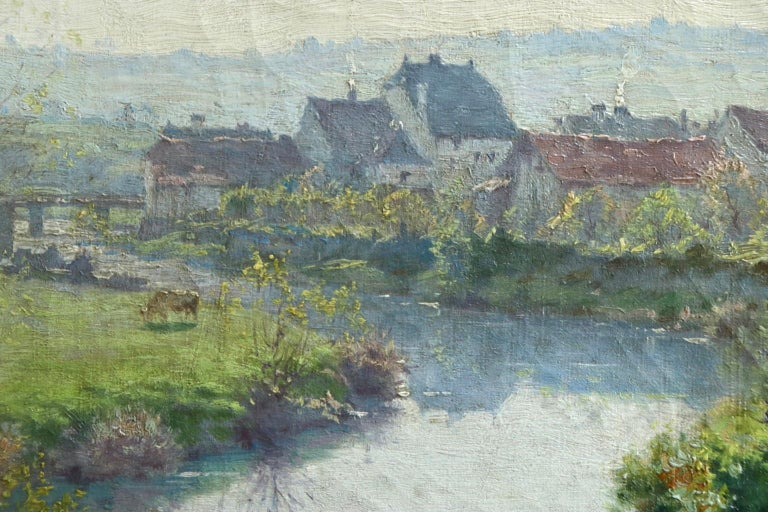 A Summer's Day - Impressionist Oil, Cattle by River in Landscape by J Monchablon 5