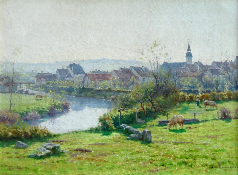 Jean Ferdinand Monchablon Animal Painting - A Summer's Day - Impressionist Oil, Cattle by River in Landscape by J Monchablon