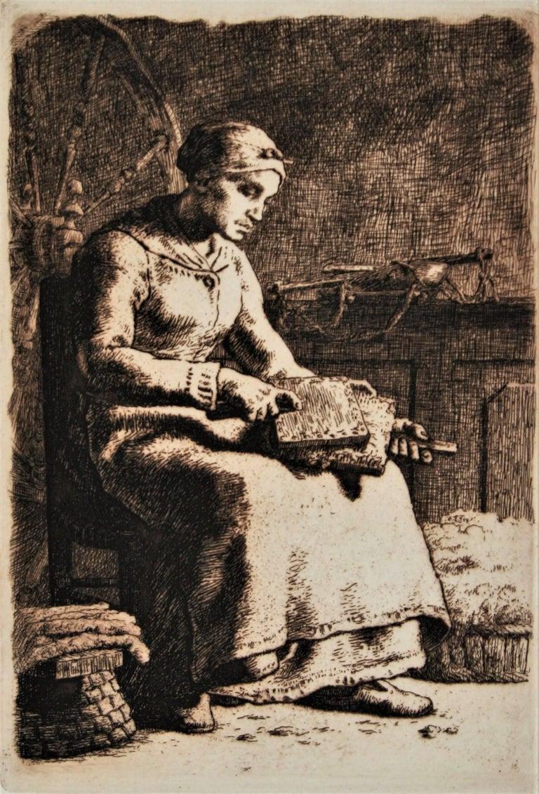 Jean François Millet Figurative Print - La Cardeuse (Woman Carding Wool)