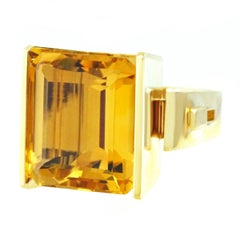 Jean Francois Albert Modernist Citrine Set Gold Ring