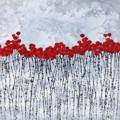 """""""Amazing Red"""" 80x80cm floral painting acrylic ink on canvas nature blue calm sky"""