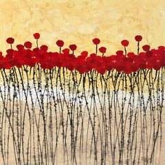 """""""Little Red Flowers"""" 80x80cm floral painting acrylic ink on canvas red summer"""