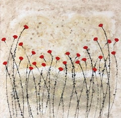 """""""Summer is Here No 5"""" 80x80cm floral painting acrylic ink on canvas red"""