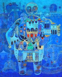 Homme - Modernist Oil, Blue Portrait of a Man by Jean-Francois Larrieu