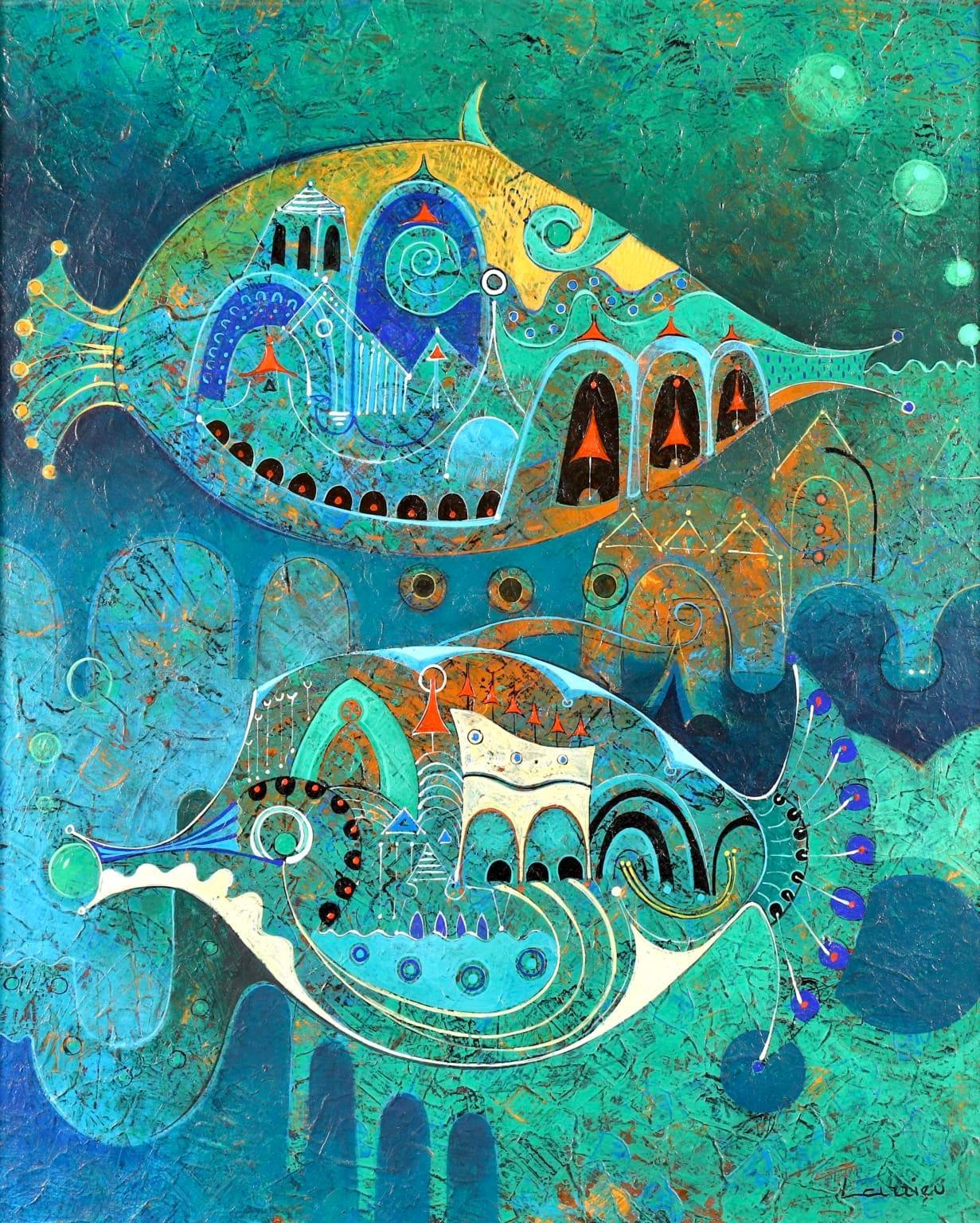 Reve d'eau a deux - Modernist Oil, Fish in Water by Jean-Francois Larrieu
