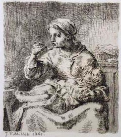 La Bouille - Original Etching by J. F. Millet - 1861