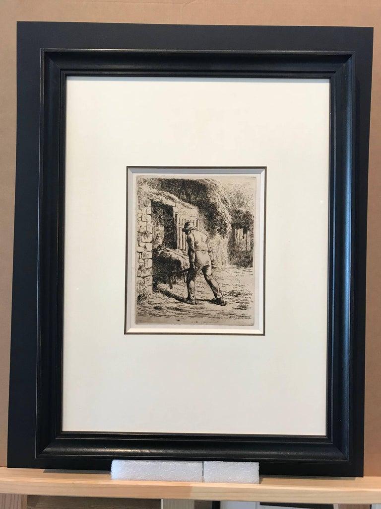 Paysan rentrant du fumier - Print by Jean François Millet