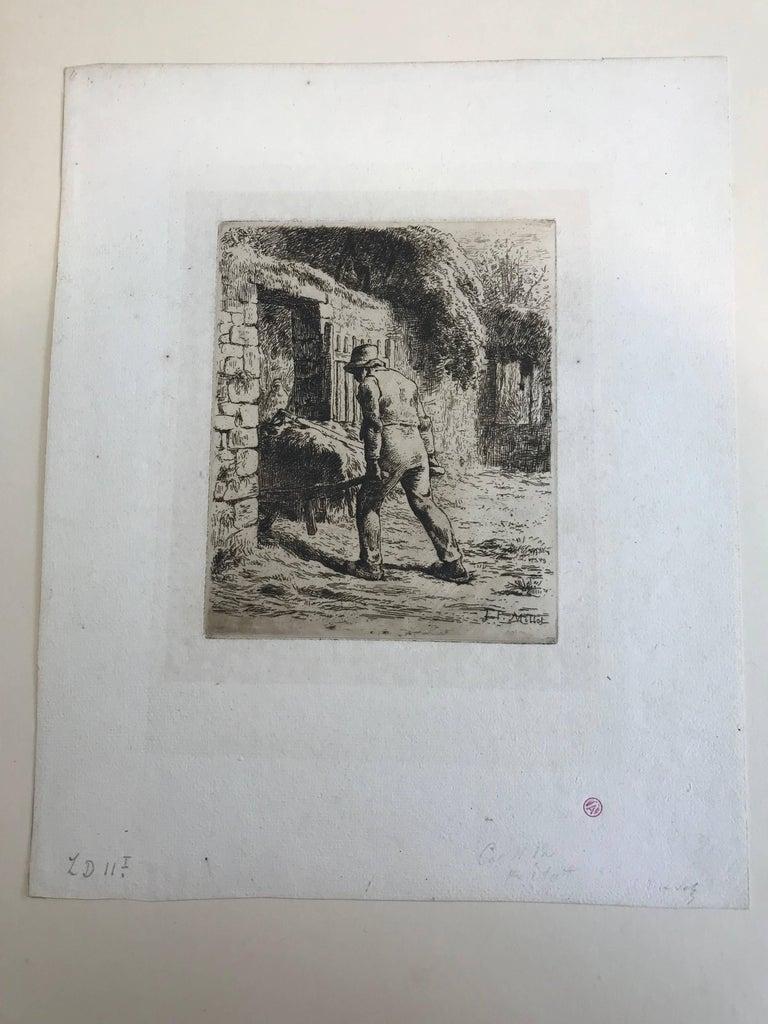 Paysan rentrant du fumier - Barbizon School Print by Jean François Millet