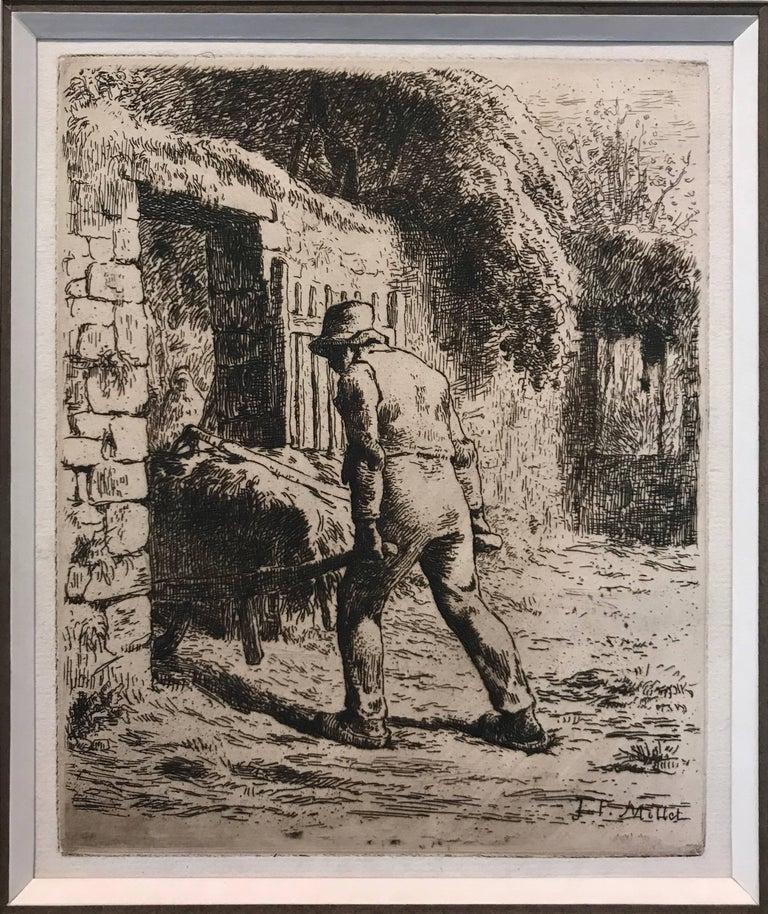 Jean François Millet Figurative Print - Paysan rentrant du fumier