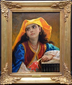 La Belle Fille Marocaine - 19th Century Orientalist Portrait Oil Painting