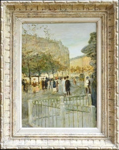 Paris- 19th Century Oil, Elegant Figures in Cityscape by Jean-Francois Raffaelli