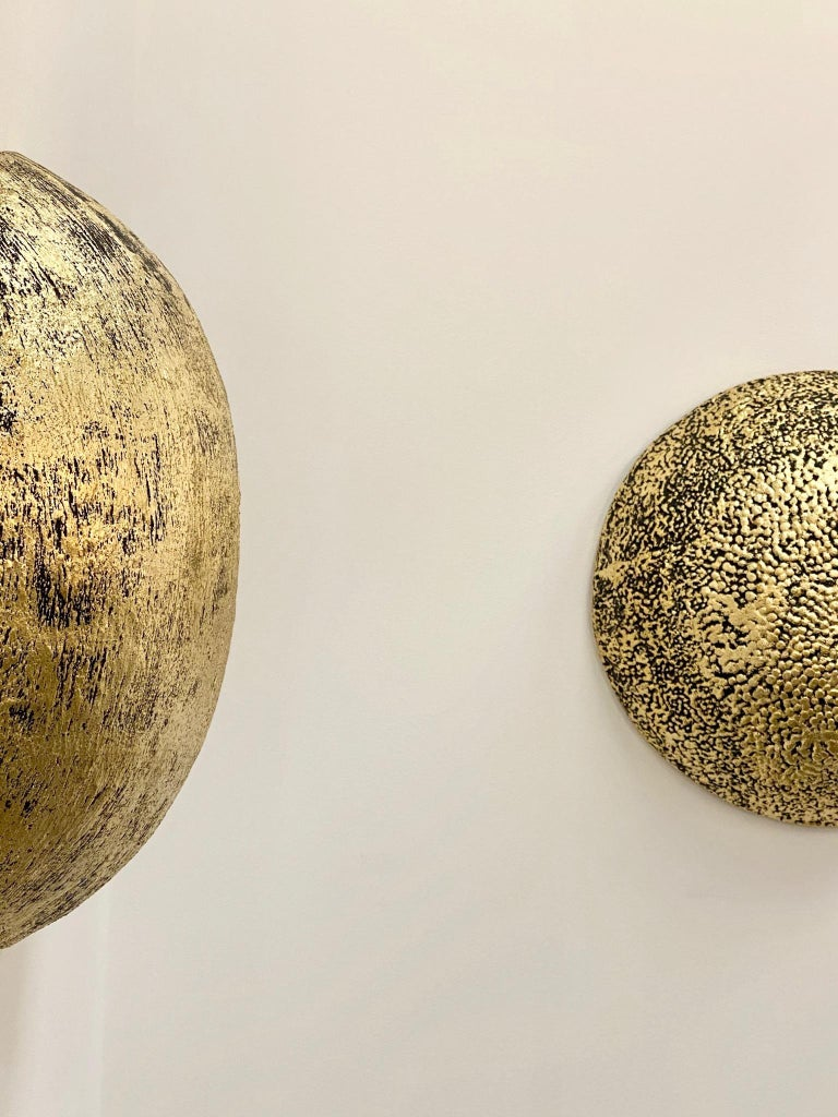 Minimalist Jean François Reboul, Luna VI in Concrete and Gold Leaf Sculpture For Sale
