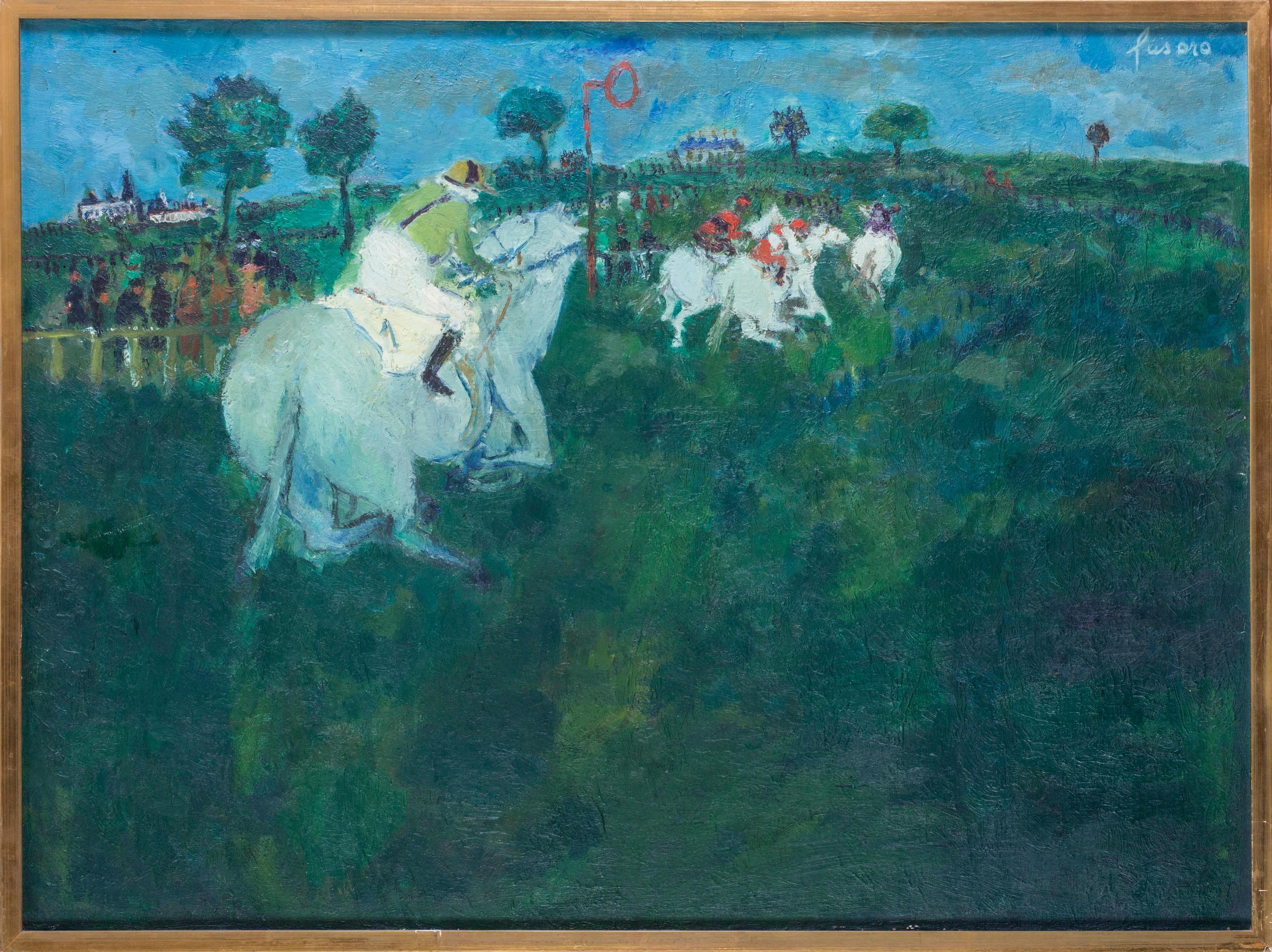 Horse racing, Jean Fusaro, French mid 20th Century, in vivid greens