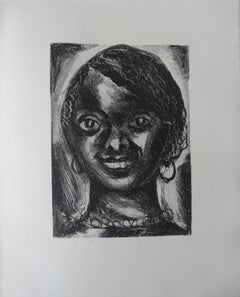Smilling Woman - Stone lithograph, 1930