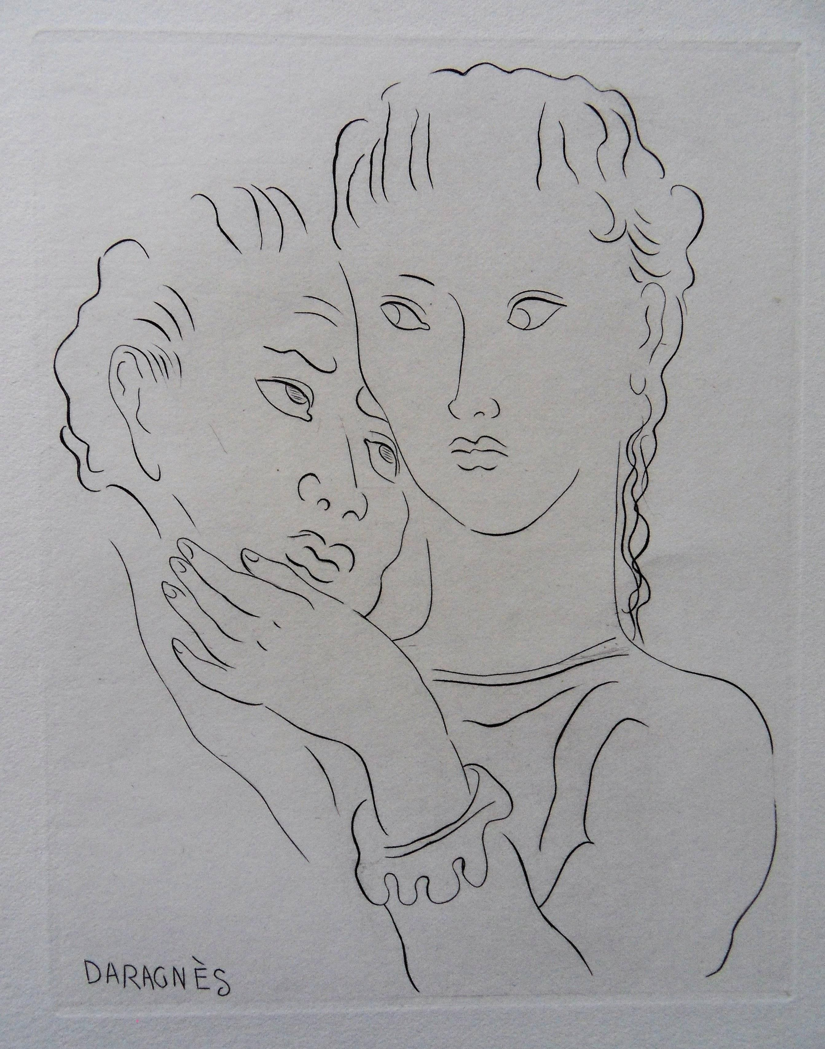 The Hug - Original etching, 1943