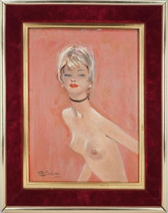 Anette : Blond Hair Nude on Pink Background - Original handsigned oil painting