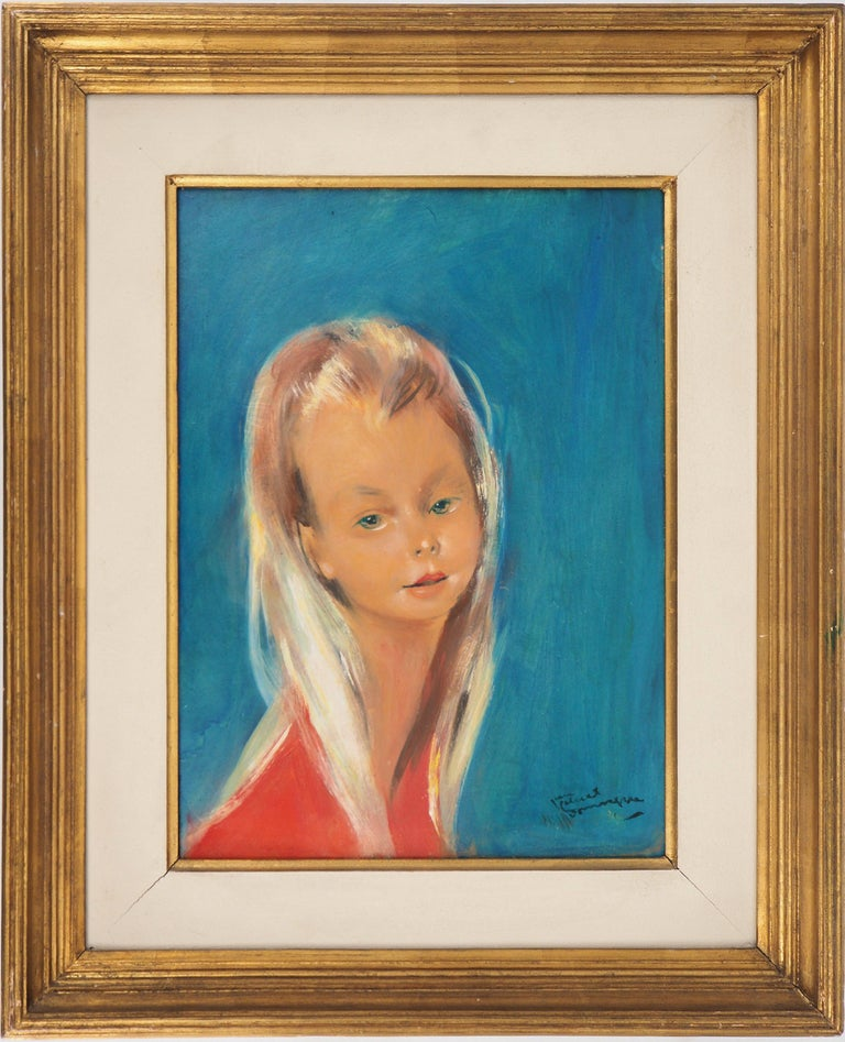 Jean-Gabriel Domergue Portrait Painting - Blond Hair Girl - Original handsigned oil painting