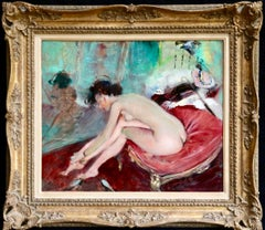 Dressing - 20th Century Oil, Nude in Boudoir Interior by Jean-Gabriel Domergue