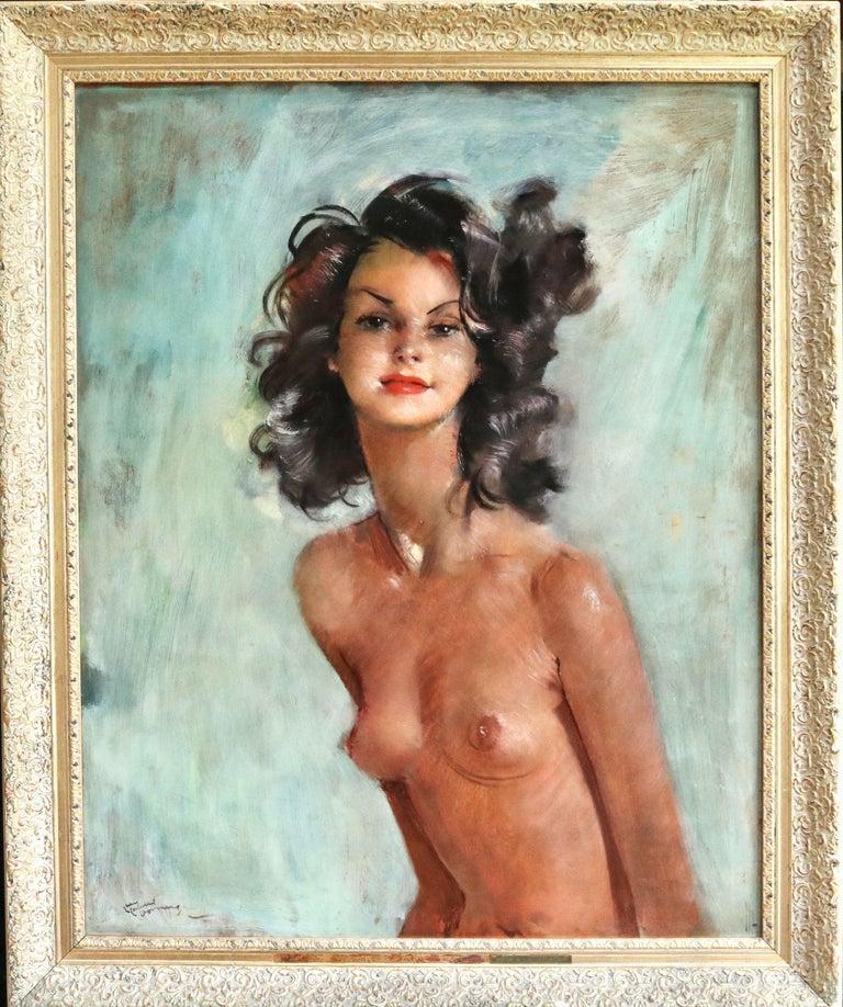 Fabienne - Post Impressionist Oil, Portrait of a Nude by Jean-Gabriel Domergue For Sale 1