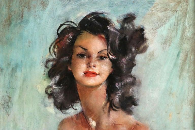 Fabienne - Post Impressionist Oil, Portrait of a Nude by Jean-Gabriel Domergue For Sale 2