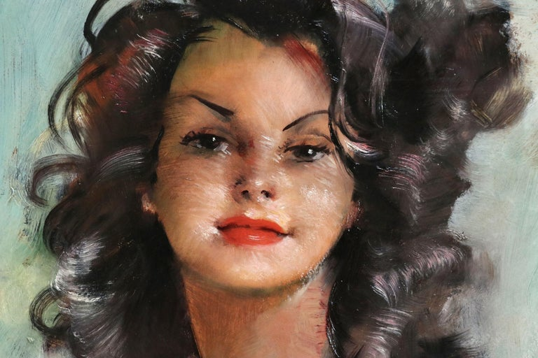 Fabienne - Post Impressionist Oil, Portrait of a Nude by Jean-Gabriel Domergue For Sale 3