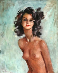 Fabienne - Post Impressionist Oil, Portrait of a Nude by Jean-Gabriel Domergue