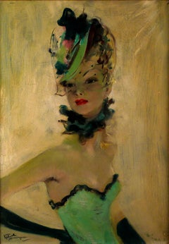 """Harmonie verte"", 20th Century oil on canvas by Jean-Gabriel Domergue"