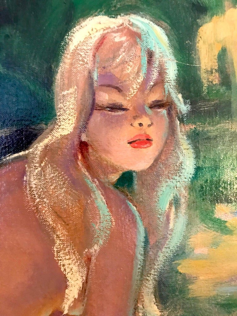 Jean-Gabriel Domergue (French 1889 - 1962);  Nicole; Oil on canvas For Sale 1