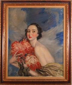 """""""Jeune Femme aux Fleurs"""" 20th Century oil on canvas by Jean-Gabriel Domergue"""