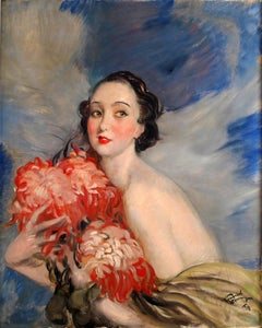 """""Jeune Femme aux Fleurs"" 20th Century oil on canvas by Jean-Gabriel Domergue"