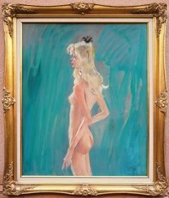 Murielle, Nude Model - Tall Original Oil on Panel, signed
