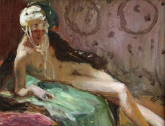 Odalisque - Post Impressionist Oil, Nude in an Interior by Jean-Gabriel Domergue