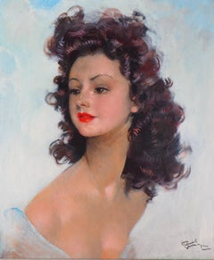 The Red Lipstick : Smiling Model - Original handsigned Oil on Canvas