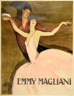 Large Original Vintage Poster Emmy Magliani Ballet Dance Design Ballerina Art
