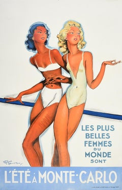 Original Vintage Poster Summer In Monte Carlo Travel Pin Up Design Belle Femmes