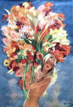 Young Girl With Flowers - Original Vintage Poster  Monte Carlo