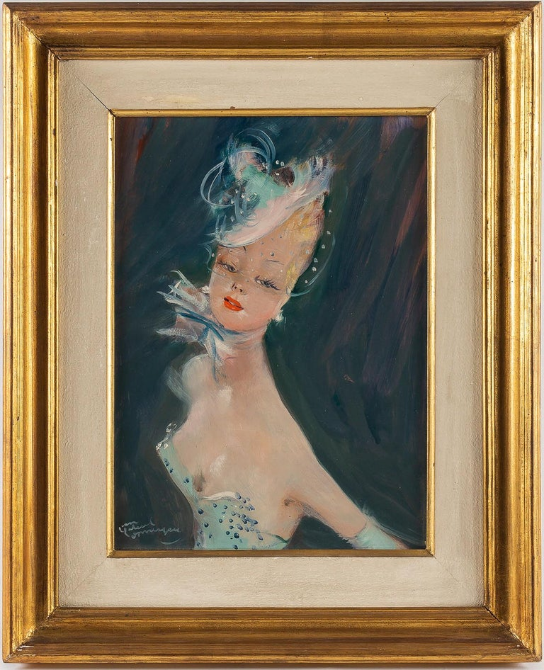 Jean-Gabriel Domergue, oil on panel portrait of Dora, circa 1951.  By the famous painter was Jean-Gabriel Domergue, a lovely portrait of Dora, signed on the lower left.  Our painting in fine original condition, it is in his original panel and,