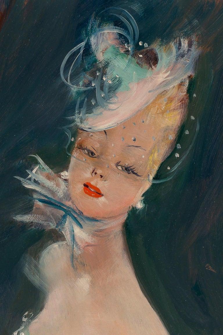 Painted Jean-Gabriel Domergue, Oil on Panel Portrait of Dora, circa 1951 For Sale