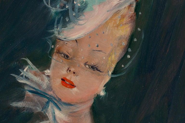 20th Century Jean-Gabriel Domergue, Oil on Panel Portrait of Dora, circa 1951 For Sale