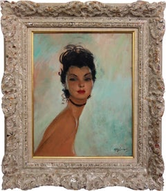 Dola : Brown Hair Pin-Up with Black Necklace - Original handsigned Oil on Canvas