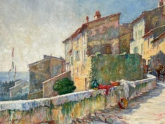 1920's St. Tropez Signed French Impressionist Oil Painting Sleepy Old Town