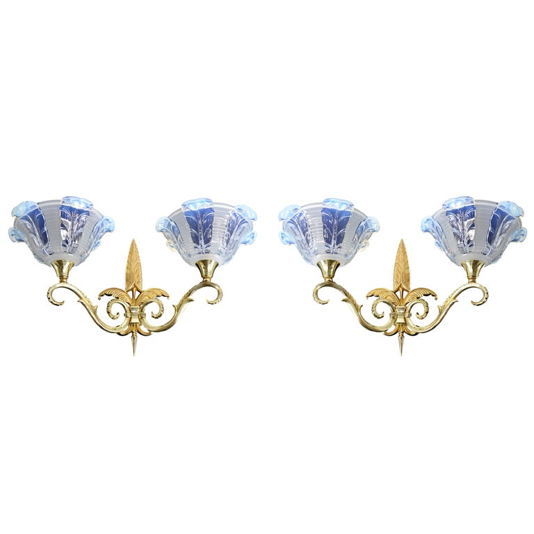 Jean Gauthier French Art Deco Pair of Double Wall Sconces, 1920s For Sale