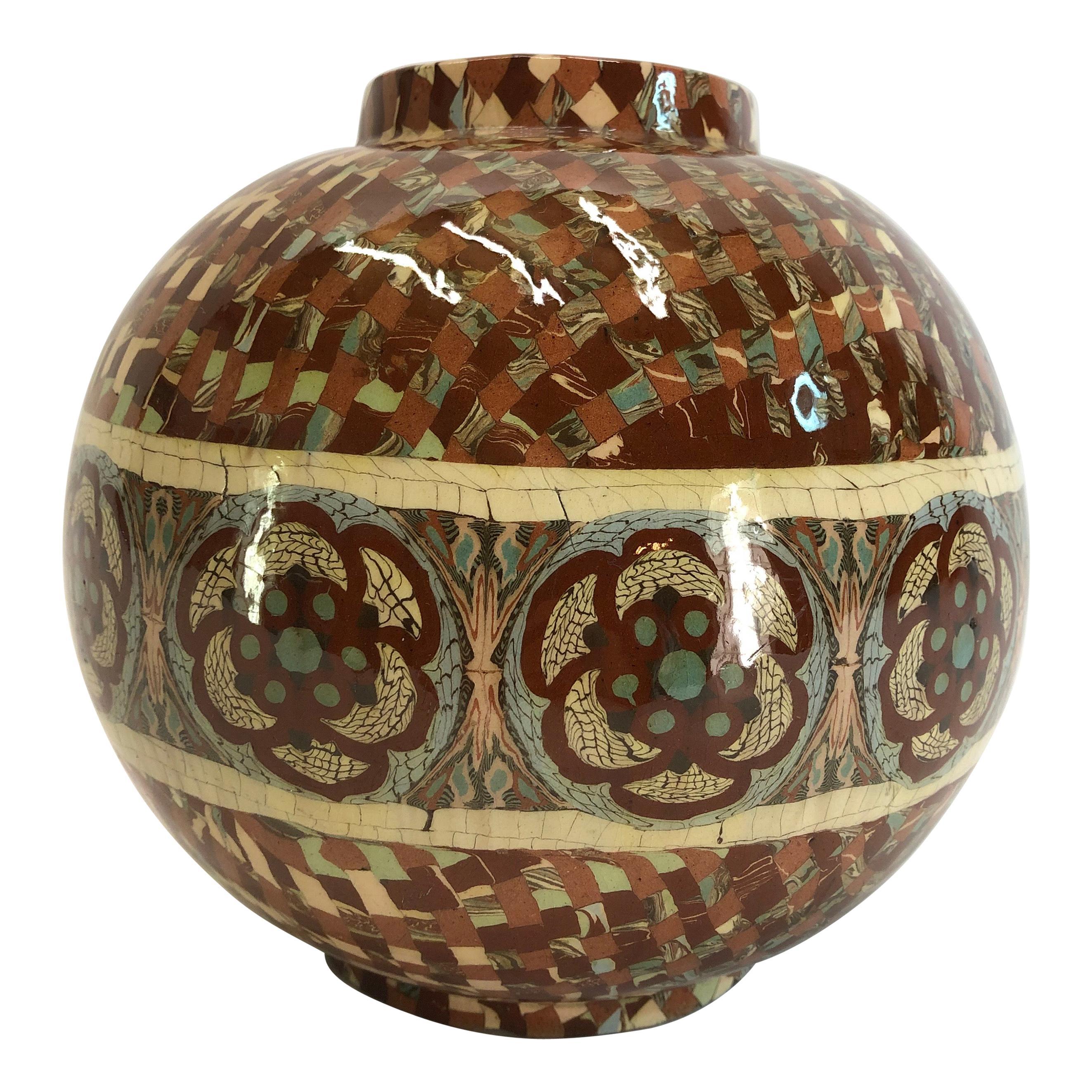 Jean Gerbino Ball Vase Ceramic Mêlée, Vallauris