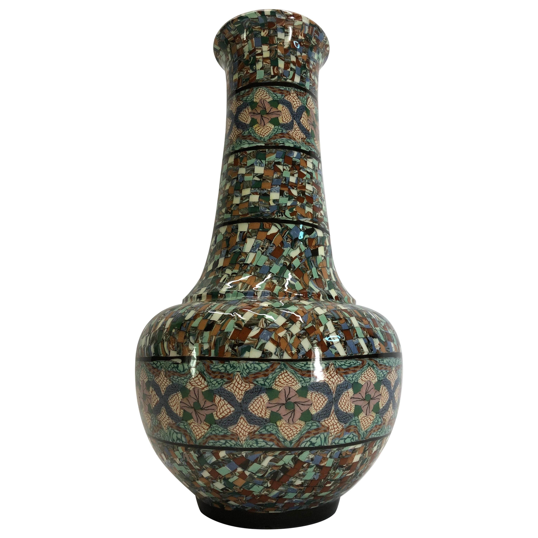 Jean Gerbino Tall Vase Ceramic Mêlée, Vallauris