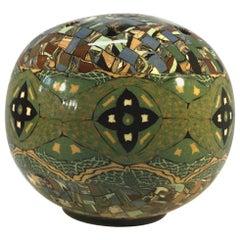 Jean Gerbino Vallauris, France, Glazed Green Mosaic Posy Potpourri Vase, 1960s