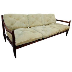 Jean Gillon 1960s Brazilian Jacaranda Wood Three-Seat Sofa in Sage Green Suede