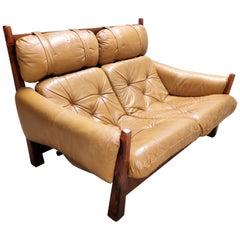 Jean Gillon 2-Seat Leather Sofa for Woodart Brasil