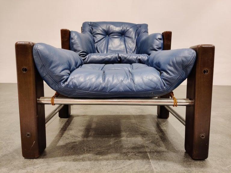 Brazilian Jean Gillon Blue Leather Captain Chair with Ottoman, 1960s For Sale